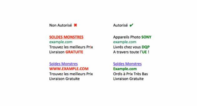 AdWords : Règles d'utilisation des majuscules dans le texte d'annonce